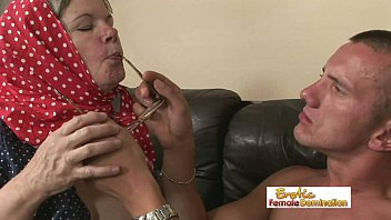 kinky gray-haired grandma fucks her grandson hard on.