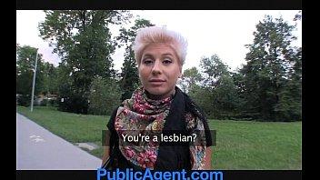 publicagent blonde lesbian takes cock for.