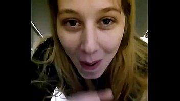 blonde girl sucking black dick at work in.
