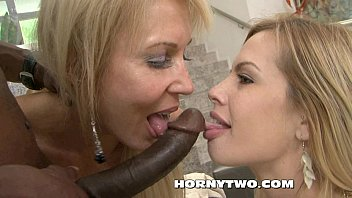 threesome as two blondies suck hard dick lick.