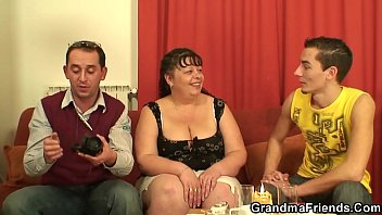 fat mature babe takes two cocks.
