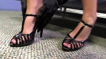 high heeled feet licked