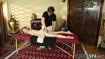 tiny teenager bangs masseur