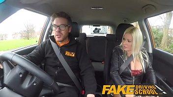 fake driving school squirting orgasm busty milf takes.