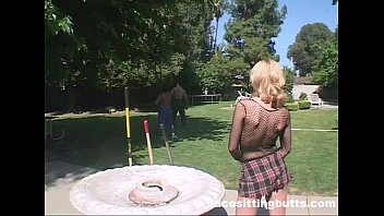 blonde whore gets plowed. literally!