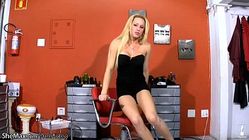 perfect blonde shemale poses in black dress and.
