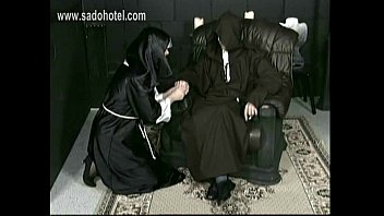 horny nun with her skirt up lying on.