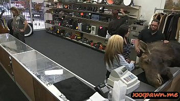 lesbian couple fucked by nasty pawn guy in.
