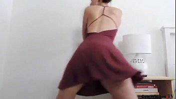 beautiful girl dances and gets naked in front.