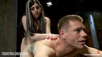 tied with ropes man gives blowjob with cumshot.