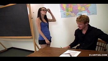 four-eyed schoolgirl jerks the teacher