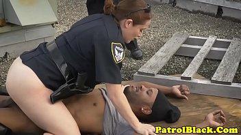 bossy female officers raiding black thug.