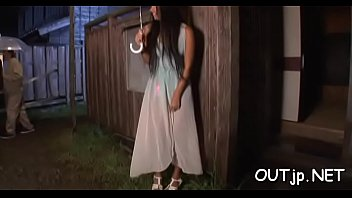 naughty oriental girl enjoys dp outdoors
