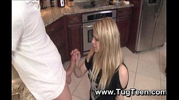 blonde teen gives handjob