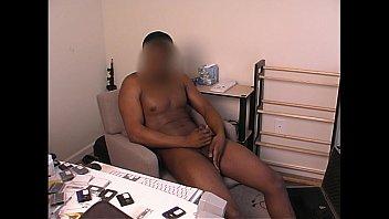 black man masturbating while watching porn