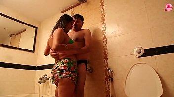 husband wife romance in bathroom hot.