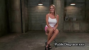 tied up busty blonde hard flogged and anal.