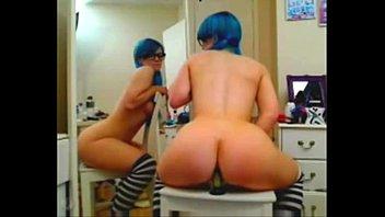 emo girl rides dildo anal -.