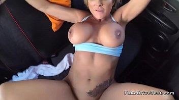 huge tits blonde fucks in driving.