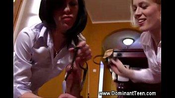femdom teen duo raids male slave.