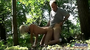 short-haired slim blonde wife cheats in the woods.