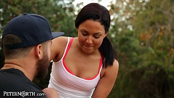 petite college teen jogger gets a creampie after.