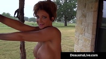 busty cougar deauxma oils up &amp_ exercises nude.