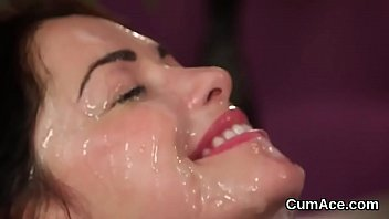 peculiar babe gets cumshot on her face swallowing.