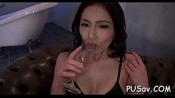 oriental gal takes hard cock and vibrator in.