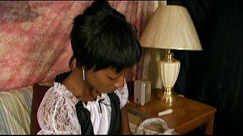 ebony maid goofs off on the job then.