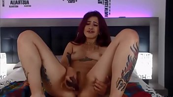 colombian tattooed smoker masturbates and squirts