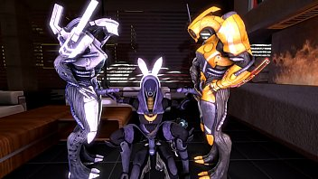 mass effect - tali'_zorah nar rayya and geth threesome