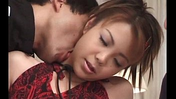 asian threesome with horny babe pussy rubbed with panties
