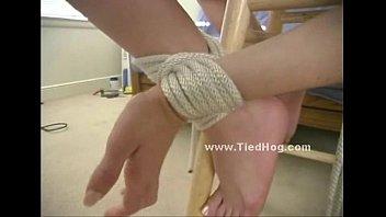 gagged beauty wears nipple clamps