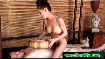 japanese busty masseuse gives nuru gel.