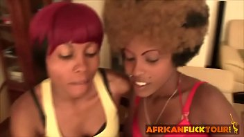 amateur ebony ladies kissing foreplay with african fuck.