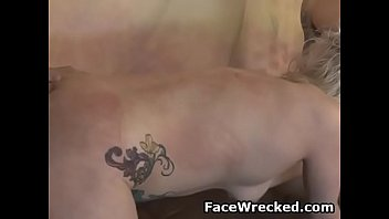 tattooed up blonde ada bomb sucking and riding.