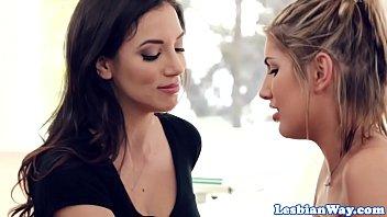busty lesbian babe scissored by stepmom.
