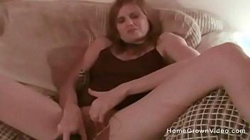 amateur milf masturbates then fucks on.