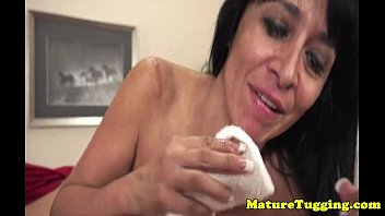 busty mature gets facial after giving.