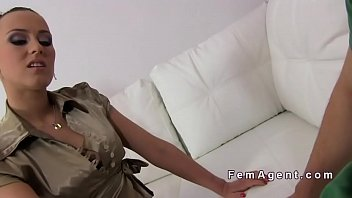female agent deep throats amateurs cock