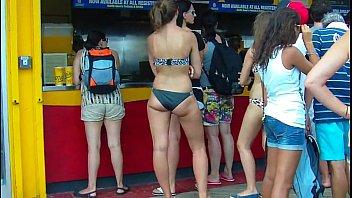 candid brunette whooty black bikini booty.
