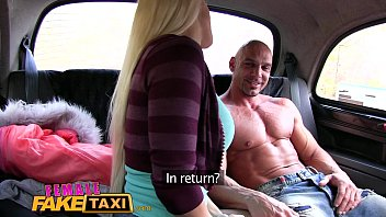 female fake taxi bodybuilder makes busty blonde cum.