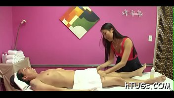 diminutive oriental masseuse is amazed at the size.