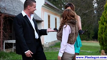 euro piss lovers doggystyled outdoors in.