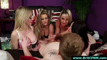 group of cfnm british girls give handjob to.