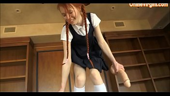young school girl jumps on huge.