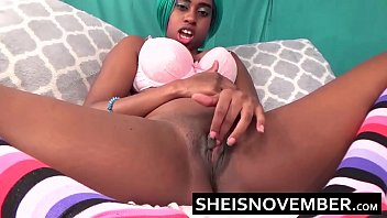 american ebony stuffing panties into tight pussy squirting.