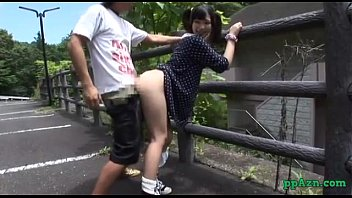 asian girl fucked while bending to the fence outdoor