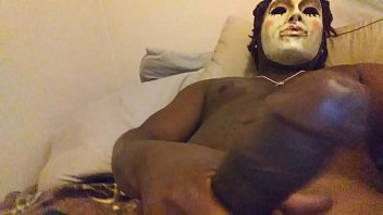 masked man with longdick cumblast